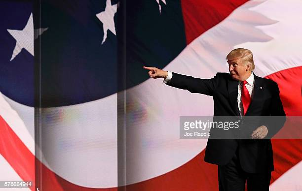 Republican presidential candidate Donald Trump acknowledges the crowd at the end of the Republican National Convention on July 21 2016 at the Quicken...
