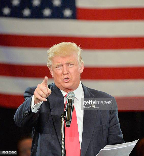 Republican presidential candidate Donald Trump address an audience at the The Hotel Roanoke Conference Center on July 25 2016 in Roanoke Virginia...