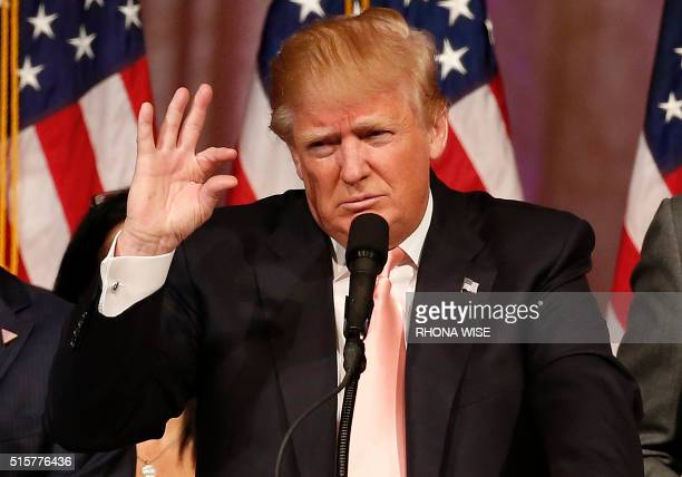 TOPSHOT Republican presidential candidate Donald Trump addresses a press conference following his victory in the Florida state primary on March 15...