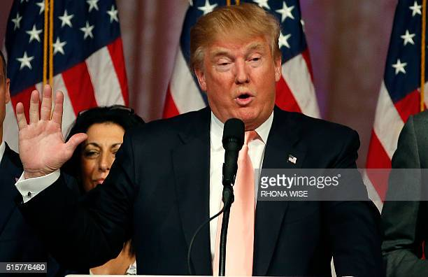 Republican presidential candidate Donald Trump addresses a press conference following his victory in the Florida state primary on March 15 2016 in...