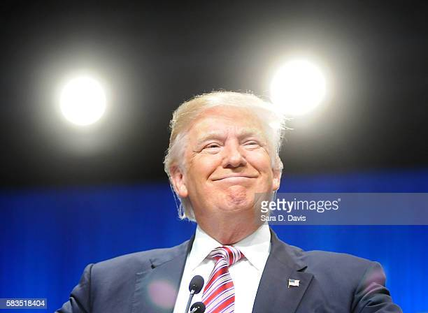 Republican presidential candidate Donald Trump addresses an audience at the 117th National Convention of the Veterans of Foreign Wars of the United...