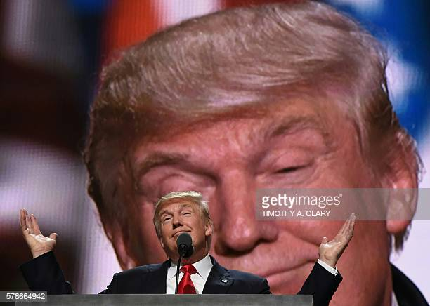 TOPSHOT Republican presidential candidate Donald Trump addresses delegates at the end of the last day of the Republican National Convention on July...