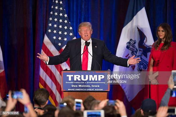 TOPSHOT Republican Presidential candidate Donald Trump addresses his supporters after finishing second in the Iowa Caucus in West Des Moines Iowa...