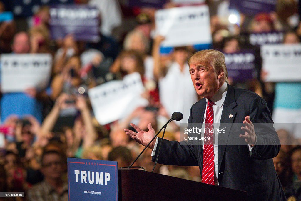 Republican Presidential candidate Donald Trump addresses supporters during a political rally at the Phoenix Convention Center on July 11, 2015 in Phoenix, Arizona. Trump spoke about illegal immigration and other topics in front of an estimated crowd of 4,200.