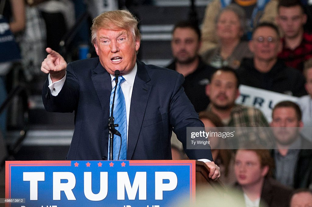 Republican presidential candidate Donald Trump addresses supporters during a campaign rally at the Greater Columbus Convention Center on November 23, 2015 in Columbus, Ohio. Trump spoke about immigration and Obamacare, among other topics, to around 14,000 supporters at the event.