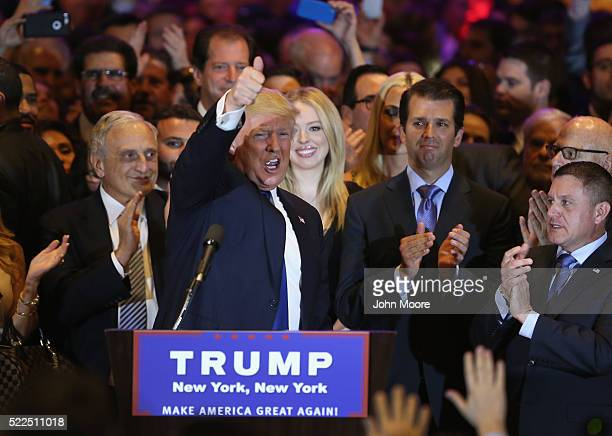 Republican Presidential candidate Donald Trump addresses supporters and media after winning the New York state primary on April 19 2016 in New York...
