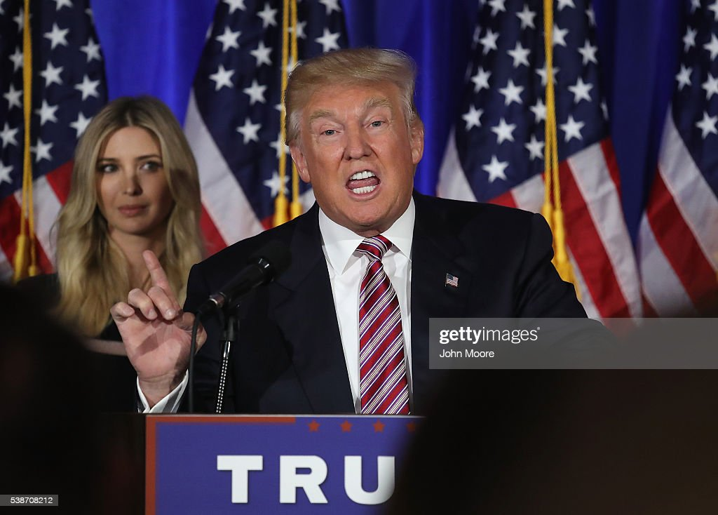 Republican Presidential Candidate Donald Trump Makes Primary Night Remarks : News Photo