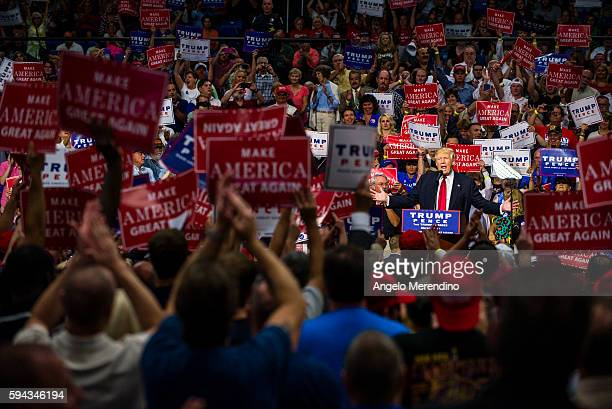 Republican Presidential candidate Donald Trump addresses supporters at the James A Rhodes Arena on August 22 2016 in Akron Ohio Trump currently...