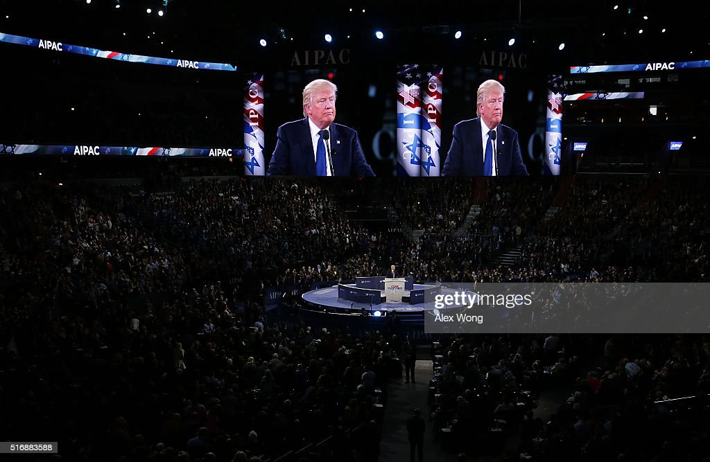 Republican presidential candidate Donald Trump addresses the annual policy conference of the American Israel Public Affairs Committee (AIPAC) March 21, 2016 in Washington, DC. Presidential candidates from both parties gathered in Washington to pitch their plans for Israel.
