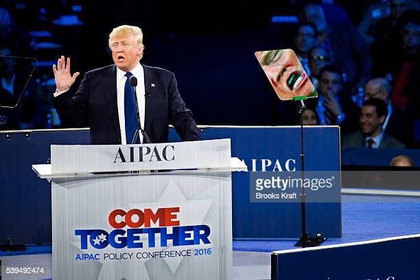 Republican presidential candidate Donald Trump addresses the annual policy conference of the American Israel Public Affairs Committee March 21 2016...