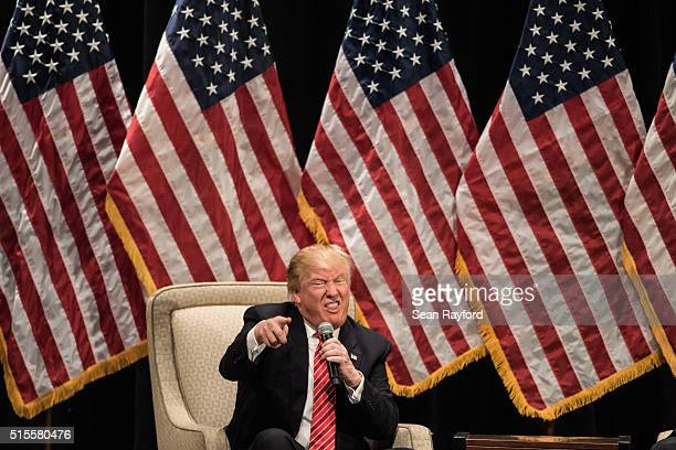 Republican presidential candidate Donald Trump addresses the crowd during a campaign rally at LenoirRhyne University March 14 2016 in Hickory North...