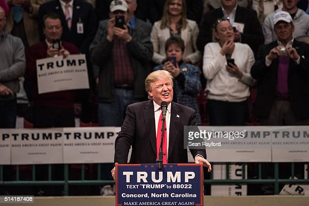 Republican presidential candidate Donald Trump addresses the crowd at a campaign rally March 7 2016 in Concord North Carolina The North Carolina...
