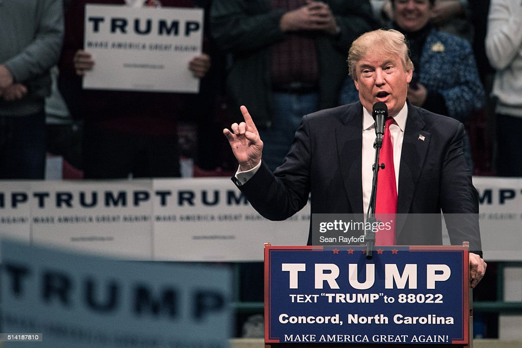Republican presidential candidate Donald Trump addresses the crowd at a campaign rally March 7, 2016 in Concord, North Carolina. The North Carolina Republican presidential primary will be held March 15.