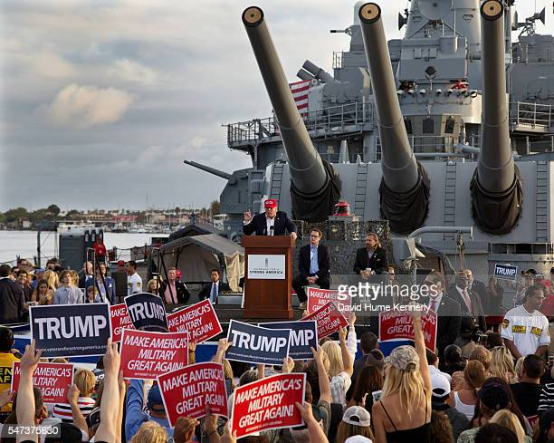 """Republican presidential candidate Donald Trump addresses the crowd during an appearance for """"Veterans For A Strong America"""" aboard the USS Iowa, a..."""