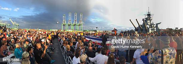 Republican presidential candidate Donald Trump addresses the crowd during an appearance for Veterans For A Strong America aboard the USS Iowa a...