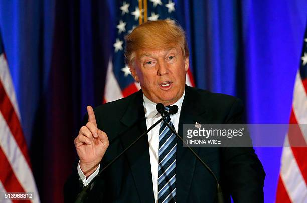 Republican presidential candidate Donald Trump addresses the media during a press conference on March 5 2016 in West Palm Beach Florida Primary...