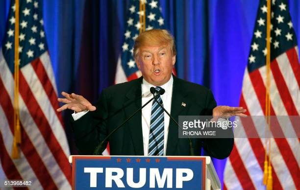 Republican presidential candidate Donald Trump addresses the media during a press conference on March 5 2016 in West Palm Beach Florida / AFP PHOTO /...