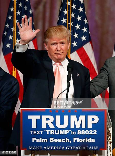 Republican presidential candidate Donald Trump addresses the media at a press conference following victory in the Florida state primary on March 15...