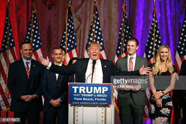 Republican presidential candidate Donald Trump addresses the media following victory in the Florida state primary on March 15 2016 in West Palm Beach...