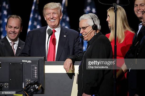 Republican presidential candidate Donald Trump and his daughter Ivanka Trump test the teleprompters and microphones on stage before the start of the...