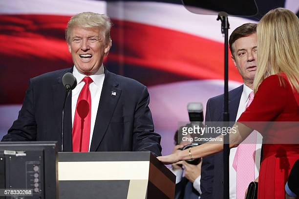 Republican presidential candidate Donald Trump and his daughter Ivanka Trump work with campaign manager Paul Manafort while testing the teleprompters...