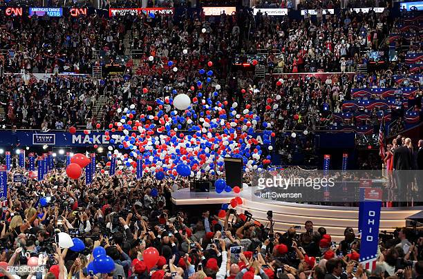 Republican presidential candidate Donald Trump and his family acknowledge the crowd on the fourth day of the Republican National Convention on July...