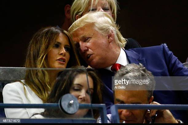 Republican presidential candidate Donald Trump and his wife Melania TrumpTrump attend the Women's Singles Quarterfinals match between Serena Williams...