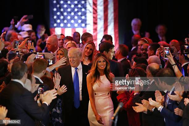 Republican presidential candidate Donald Trump and his wife Melania Trump arrive to speak to supporters at Trump Tower in Manhattan following his...