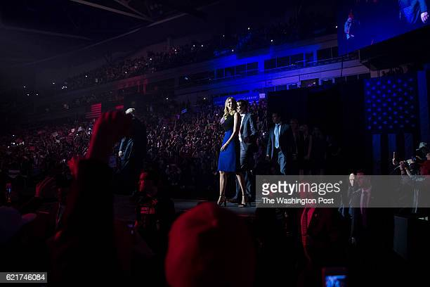 Republican presidential candidate Donald Trump and Ivanka walk out to speak during a campaign event at SNHU Arena in Manchester NH on Monday November...