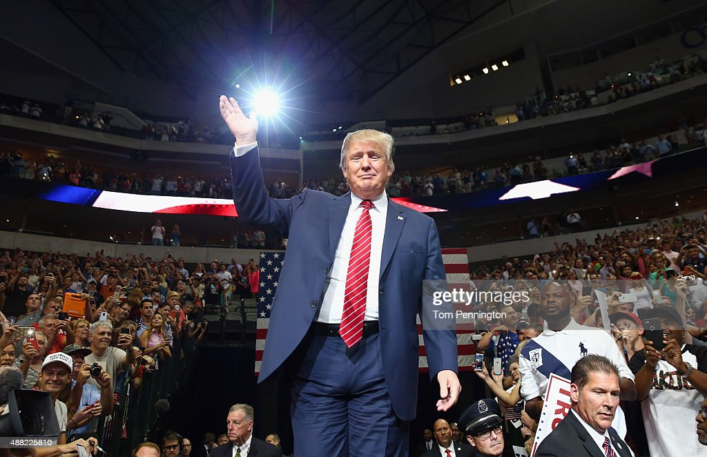 Republican presidential candidate Donald Trump arrives at a campaign rally at the American Airlines Center on September 14, 2015 in Dallas, Texas. More than 20,000 tickets have been distributed for the event.