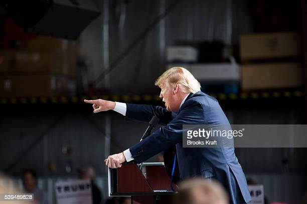 Republican Presidential candidate Donald Trump arrives at a campaign rally on his personal airplane March 12 2016 in Vandalia Ohio