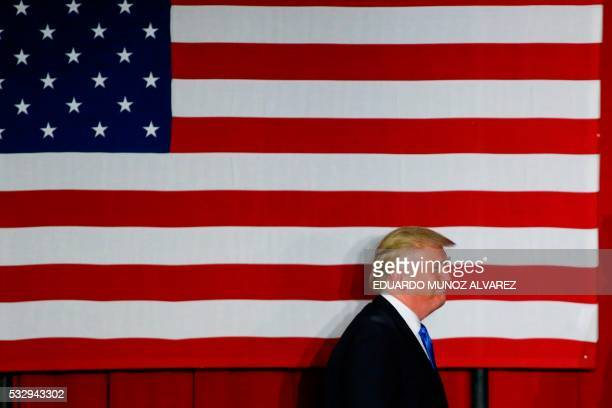 Republican presidential candidate Donald Trump arrives at a fundraising event in Lawrenceville New Jersey on May 19 2016 / AFP PHOTO / EDUARDO MUNOZ...