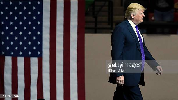Republican presidential candidate Donald Trump arrives at a rally at the South Point Hotel Casino on February 22 2016 in Las Vegas Nevada Trump is...