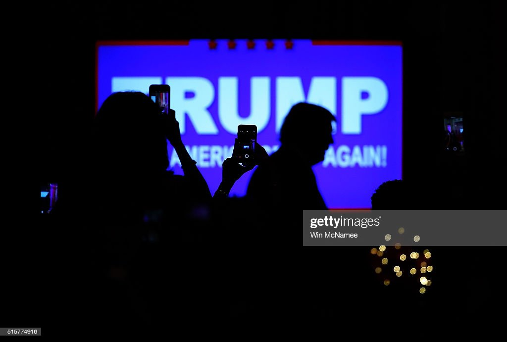 Republican presidential candidate Donald Trump arrives for a primary night press conference at the Mar-A-Lago Club's Donald J. Trump Ballroom March 15, 2016 in Palm Beach, Florida. Trump won the state of Florida and Ohio Gov. John Kasich won the state of Ohio.
