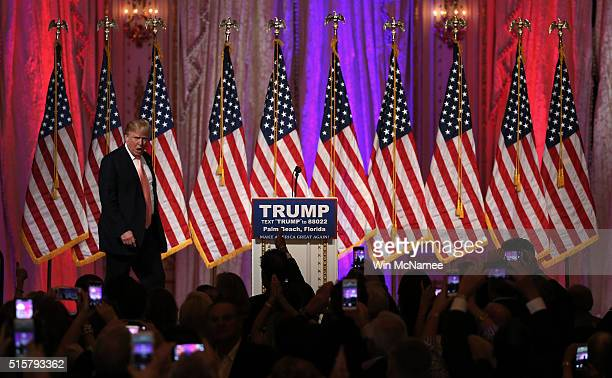 Republican presidential candidate Donald Trump arrives for a primary night event at the MarALago Club's Donald J Trump Ballroom March 15 2016 in Palm...
