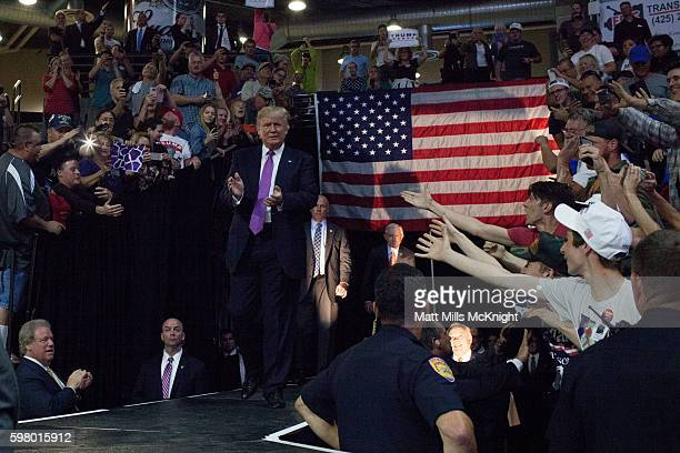 Republican presidential candidate Donald Trump arrives to a campaign rally at Xfinity Arena on August 30 2016 in Everett Washington Trump addressed...