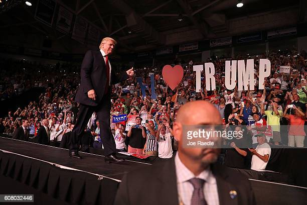 Republican presidential candidate Donald Trump arrives to speak during a campaign rally at the Germain Arena on September 19 2016 in Estero Florida...