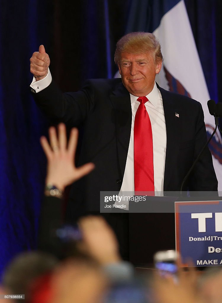 Republican presidential candidate Donald Trump as he concedes defeat in the Iowa Caucus during his President Caucus Watch Party at the Sheraton Hotel on February 1, 2016 in Des Moines, Iowa. Democratic and Republican Presidential candidates await the caucus returns from the first step in nominating a presidential candidate from each party.