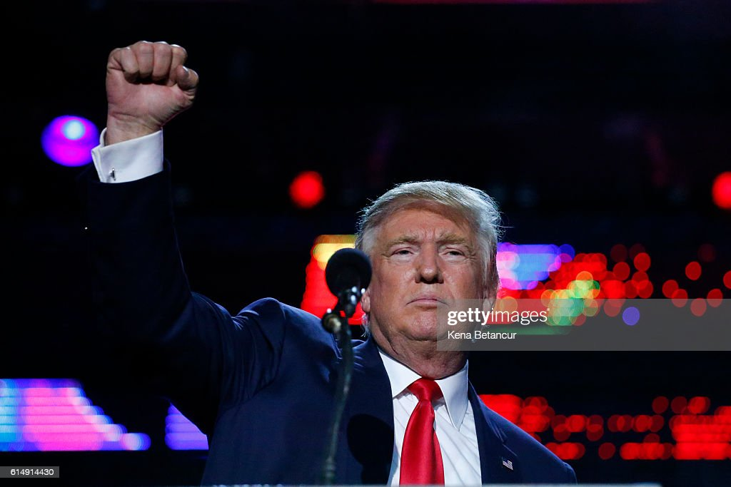 Republican presidential candidate Donald Trump attends the Republican Hindu Coalition's Humanity United Against Terror Charity event on October 15, 2016 at the New Jersey Convention & Expo Center in Edison, New Jersey. Trump also campaigned today in New Hampshire and Maine.