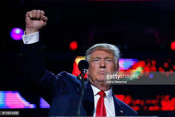 Republican presidential candidate Donald Trump attends the Republican Hindu Coalition's Humanity United Against Terror Charity event on October 15...