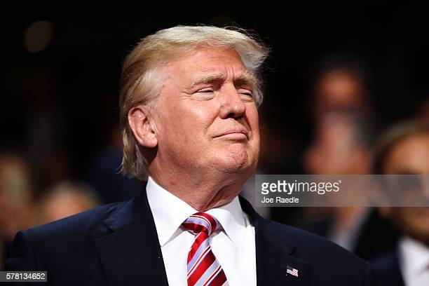Republican presidential candidate Donald Trump attends the third day of the Republican National Convention on July 20 2016 at the Quicken Loans Arena...