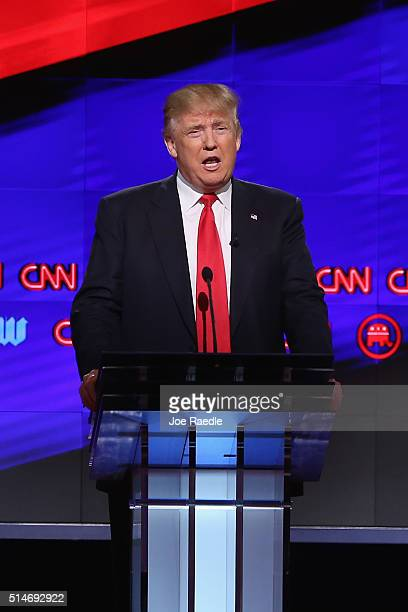 Republican presidential candidate Donald Trump debates against Sen Marco Rubio Sen Ted Cruz and Ohio Gov John Kasich during the CNN Salem Media Group...