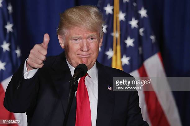 Republican presidential candidate Donald Trump delivers a speech about his vision for foreign policy at the Mayflower Hotel April 27 2016 in...