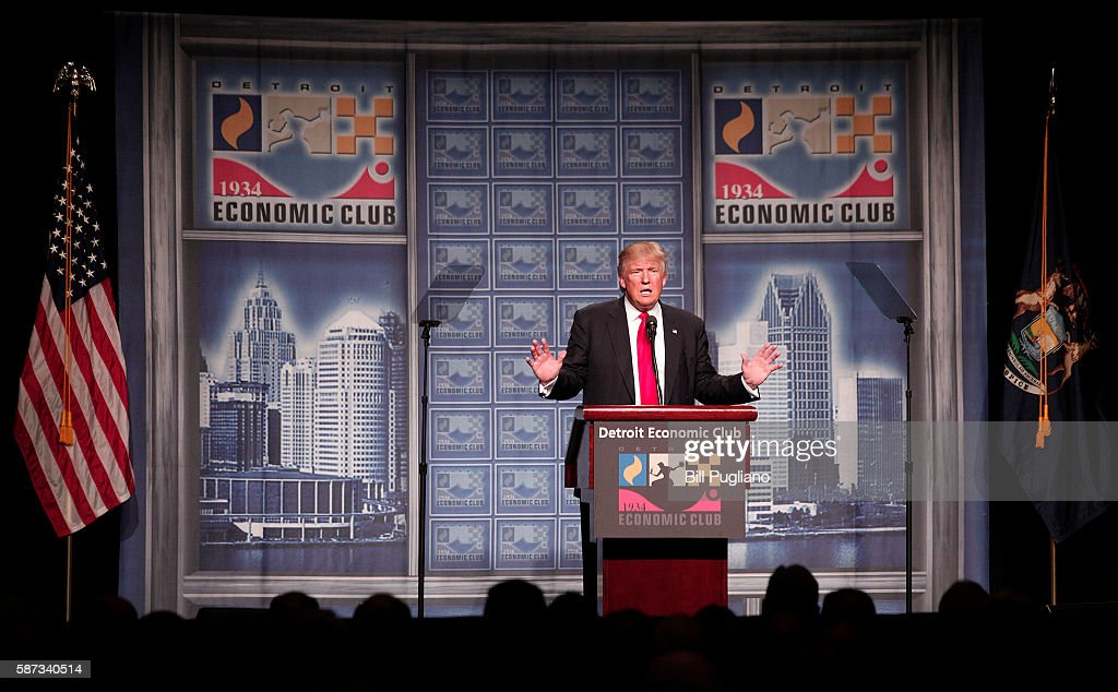 GOP Presidential Candidate Donald Trump Gives Economic Policy Address In Detroit : News Photo