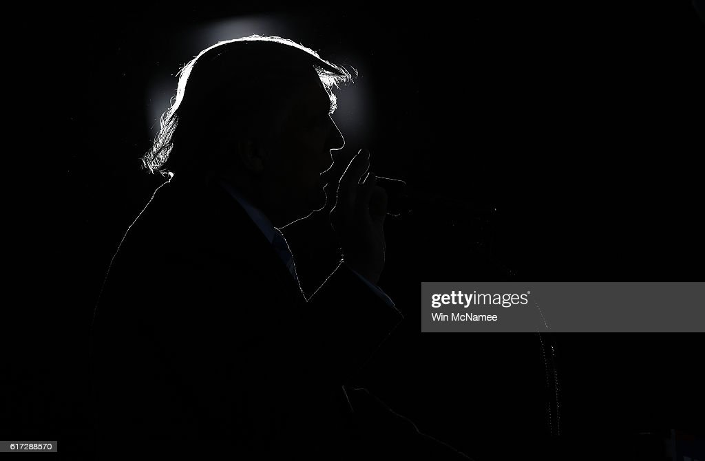Republican presidential candidate Donald Trump delivers remarks while campaigning at Regent University October 22, 2016 in Virginia Beach, Virginia. The U.S. holds its presidential election in 17 days.