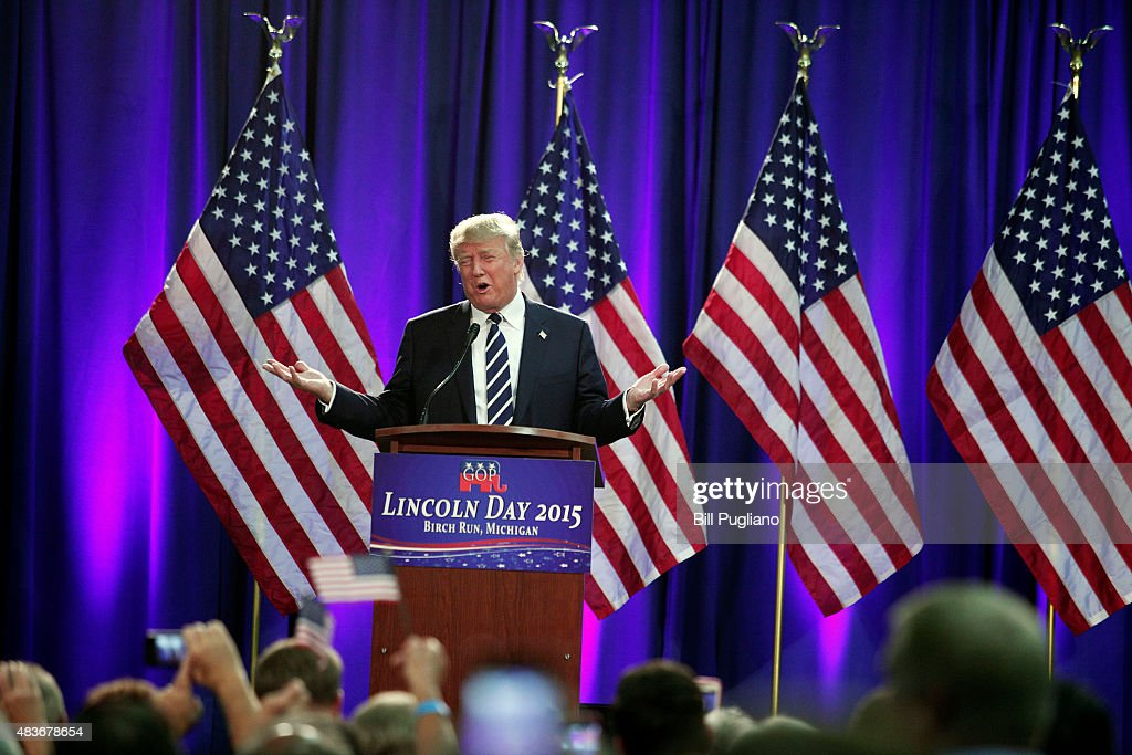 Republican presidential candidate Donald Trump delivers the keynote address at the Genesee and Saginaw Republican Party Lincoln Day Event August 11, 2015 in Birch Run, Michigan. This is Trump's first campaign event since his Republican debate last week.