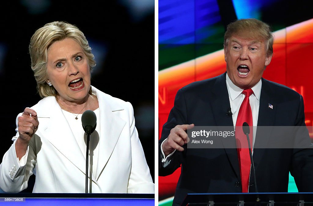 In this composite image a comparison has been made between US Presidential Candidates Hillary Clinton (L) and Donald Trump. The November 8, 2016 election will decide between Democratic candidate Hillary Clinton and Republican candidate Donald TrumpRomney who will win to become the next President of the United States LAS VEGAS, NV - DECEMBER 15: Republican presidential candidate Donald Trump during the CNN Republican presidential debate on December 15, 2015 in Las Vegas, Nevada. This is the last GOP debate of the year, with U.S. Sen. Ted Cruz (R-TX) gaining in the polls in Iowa and other early voting states and Donald Trump rising in national polls.