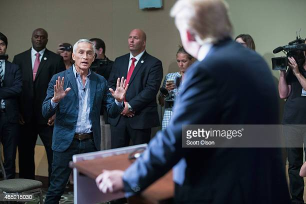 Republican presidential candidate Donald Trump fields a question from Univision and Fusion anchor Jorge Ramos during a press conference held before...