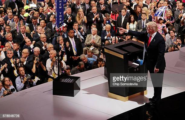 Republican presidential candidate Donald Trump gestures during his speech on the fourth day of the Republican National Convention on July 21 2016 at...