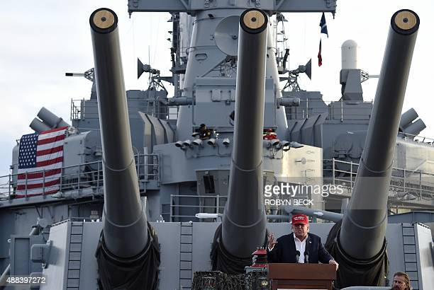 Republican presidential candidate Donald Trump gives a national security speech aboard the World War II Battleship USS Iowa September 15 in San Pedro...